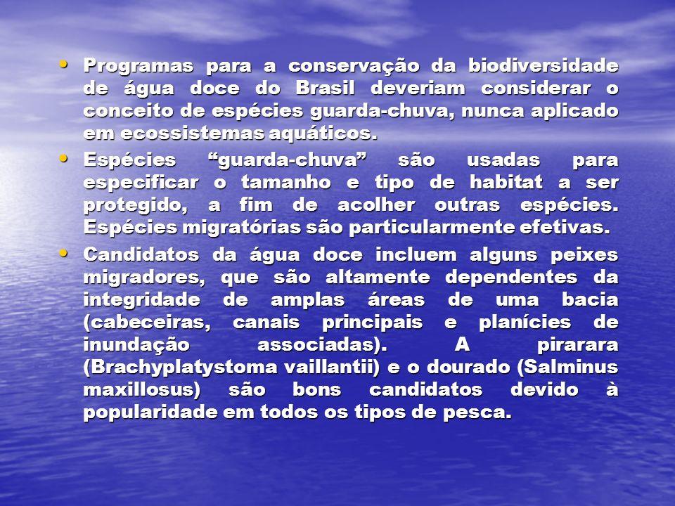 Programas para a conservação da biodiversidade de água doce do Brasil deveriam considerar o conceito de espécies guarda-chuva, nunca aplicado em ecossistemas aquáticos.