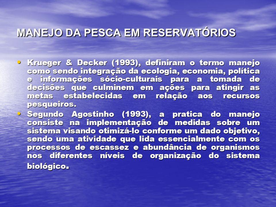 MANEJO DA PESCA EM RESERVATÓRIOS Krueger & Decker (1993), definiram o termo manejo como sendo integração da ecologia, economia, política e informações sócio-culturais para a tomada de decisões que culminem em ações para atingir as metas estabelecidas em relação aos recursos pesqueiros.
