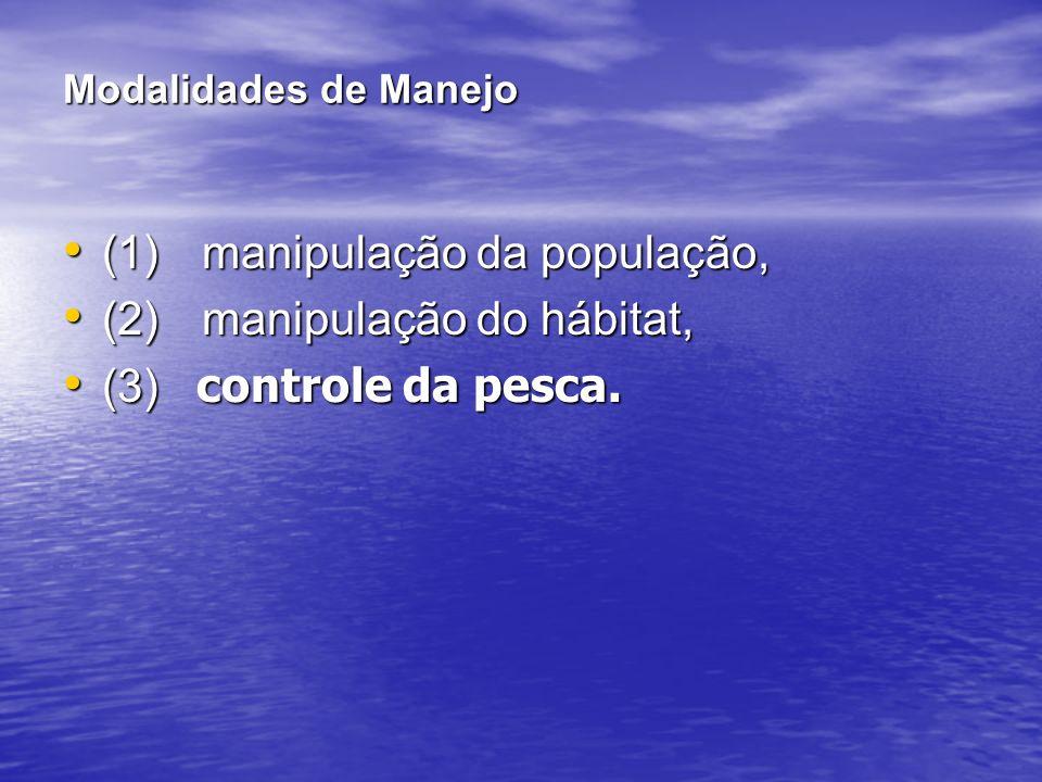 Modalidades de Manejo (1) manipulação da população, (1) manipulação da população, (2) manipulação do hábitat, (2) manipulação do hábitat, (3) controle da pesca.