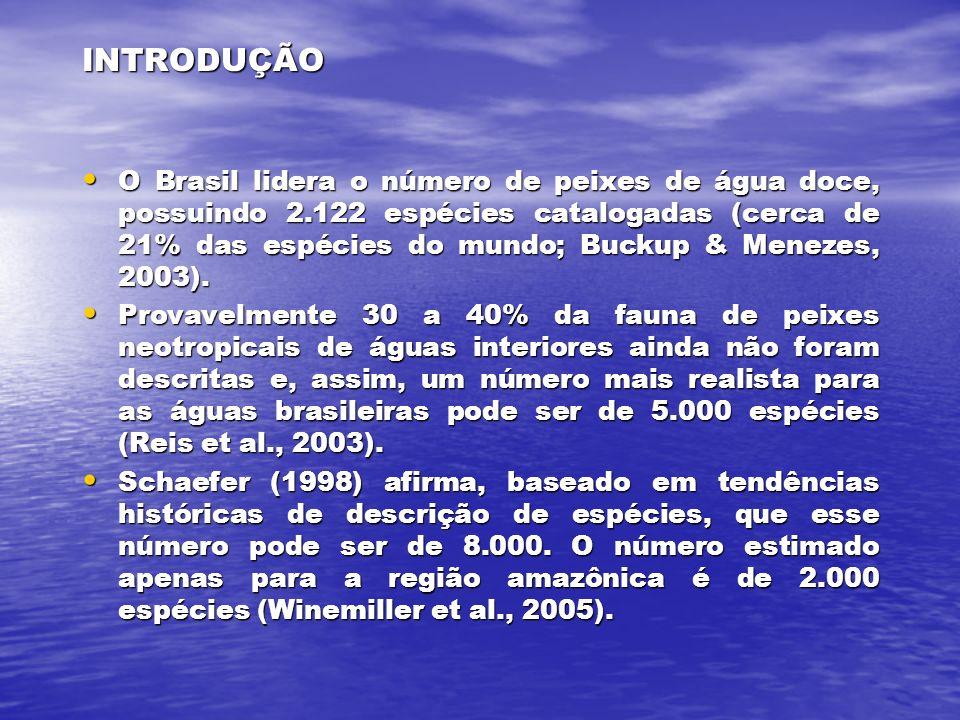 INTRODUÇÃO O Brasil lidera o número de peixes de água doce, possuindo 2.122 espécies catalogadas (cerca de 21% das espécies do mundo; Buckup & Menezes, 2003).