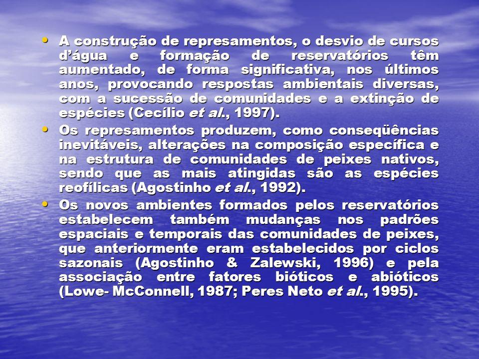 A construção de represamentos, o desvio de cursos dágua e formação de reservatórios têm aumentado, de forma significativa, nos últimos anos, provocando respostas ambientais diversas, com a sucessão de comunidades e a extinção de espécies (Cecílio et al., 1997).