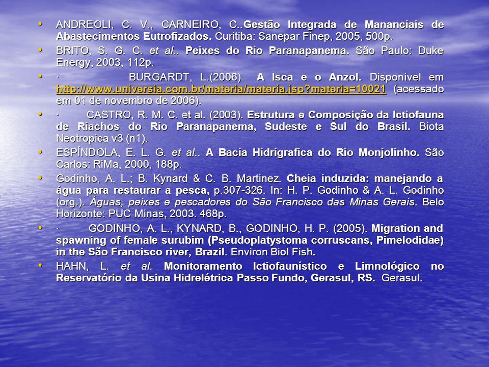 ANDREOLI, C.V., CARNEIRO, C..Gestão Integrada de Mananciais de Abastecimentos Eutrofizados.