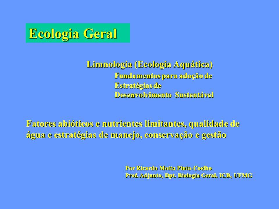 Ecologia Geral Limnologia (Ecologia Aquática) Fundamentos para adoção de Estratégias de Desenvolvimento Sustentável Fatores abióticos e nutrientes lim