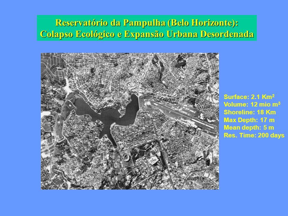 Reservatório da Pampulha (Belo Horizonte): Colapso Ecológico e Expansão Urbana Desordenada Surface: 2.1 Km 2 Volume: 12 mio m 3 Shoreline: 18 Km Max D