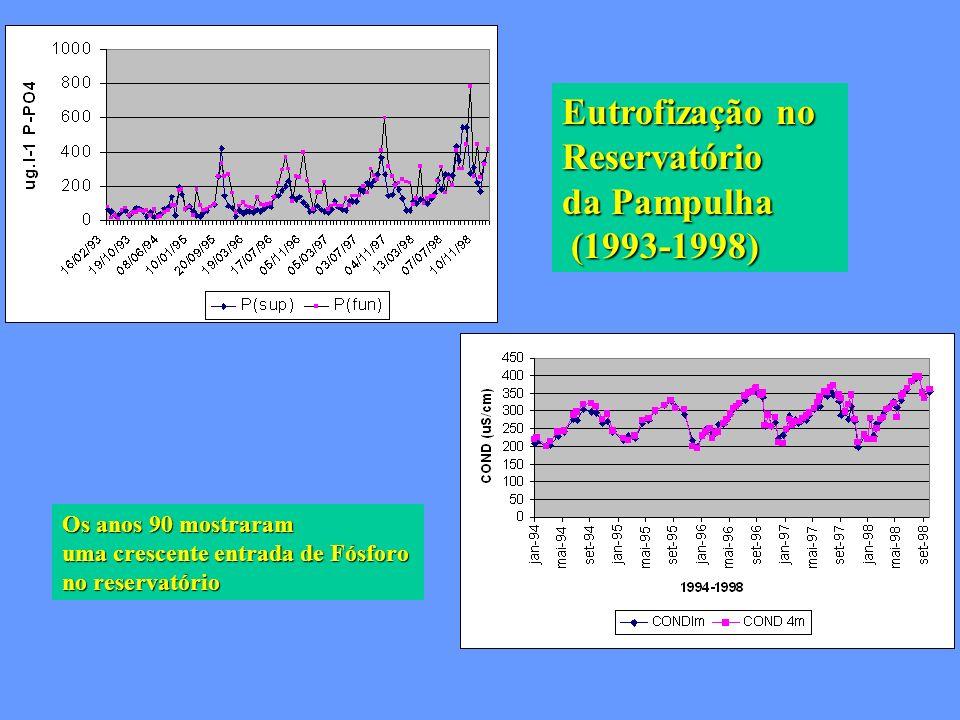 Eutrofização no Reservatório da Pampulha (1993-1998) (1993-1998) Os anos 90 mostraram uma crescente entrada de Fósforo no reservatório