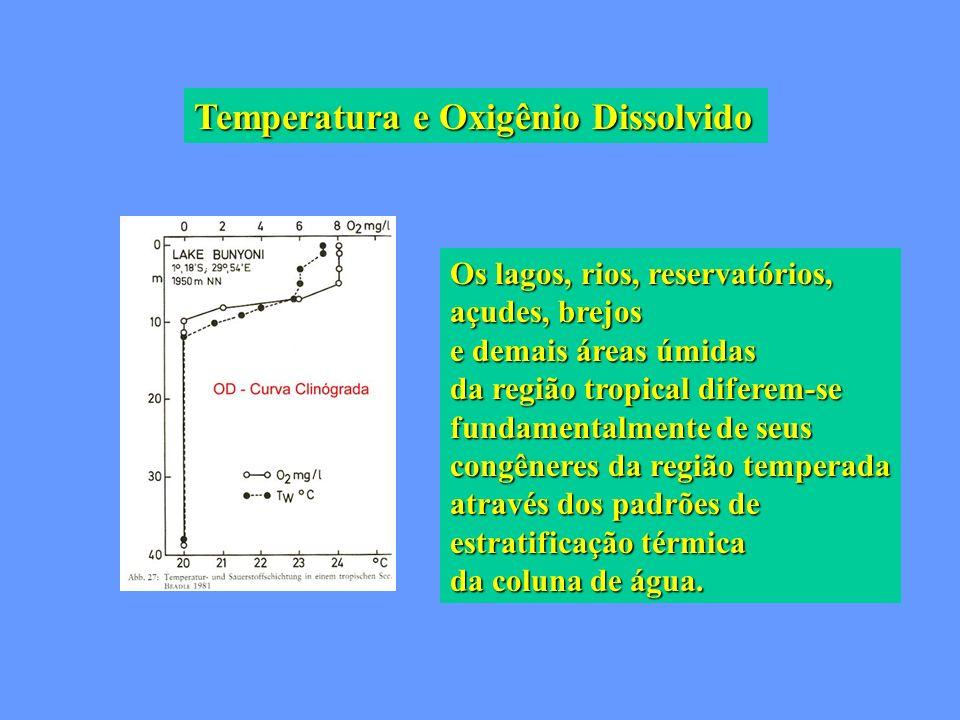 Temperatura e Oxigênio Dissolvido Os lagos, rios, reservatórios, açudes, brejos e demais áreas úmidas da região tropical diferem-se fundamentalmente d