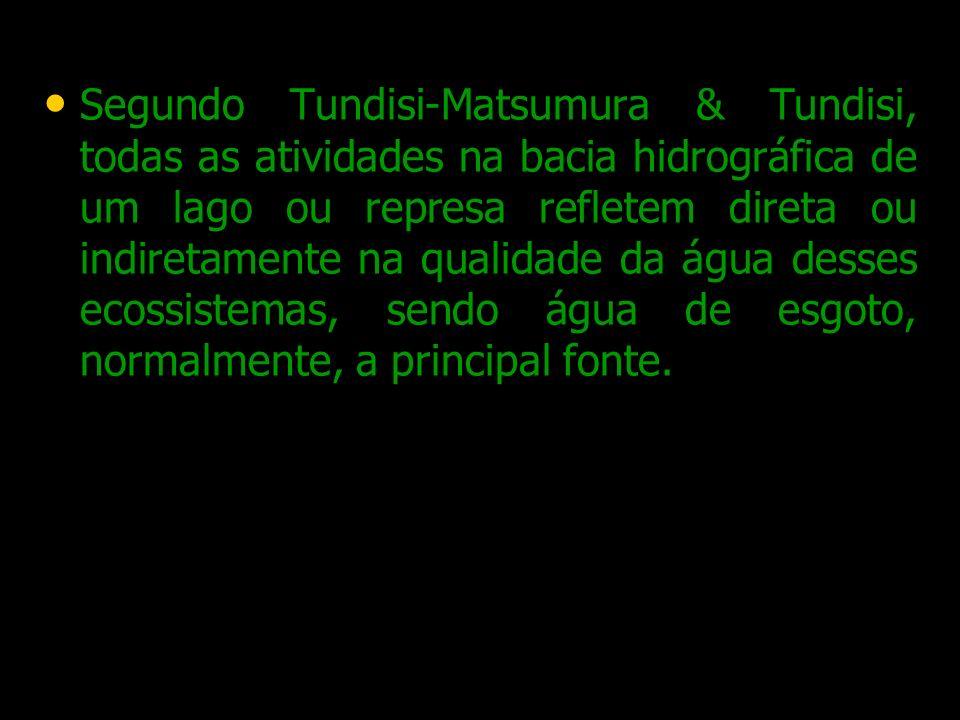 Segundo Tundisi-Matsumura & Tundisi, todas as atividades na bacia hidrográfica de um lago ou represa refletem direta ou indiretamente na qualidade da