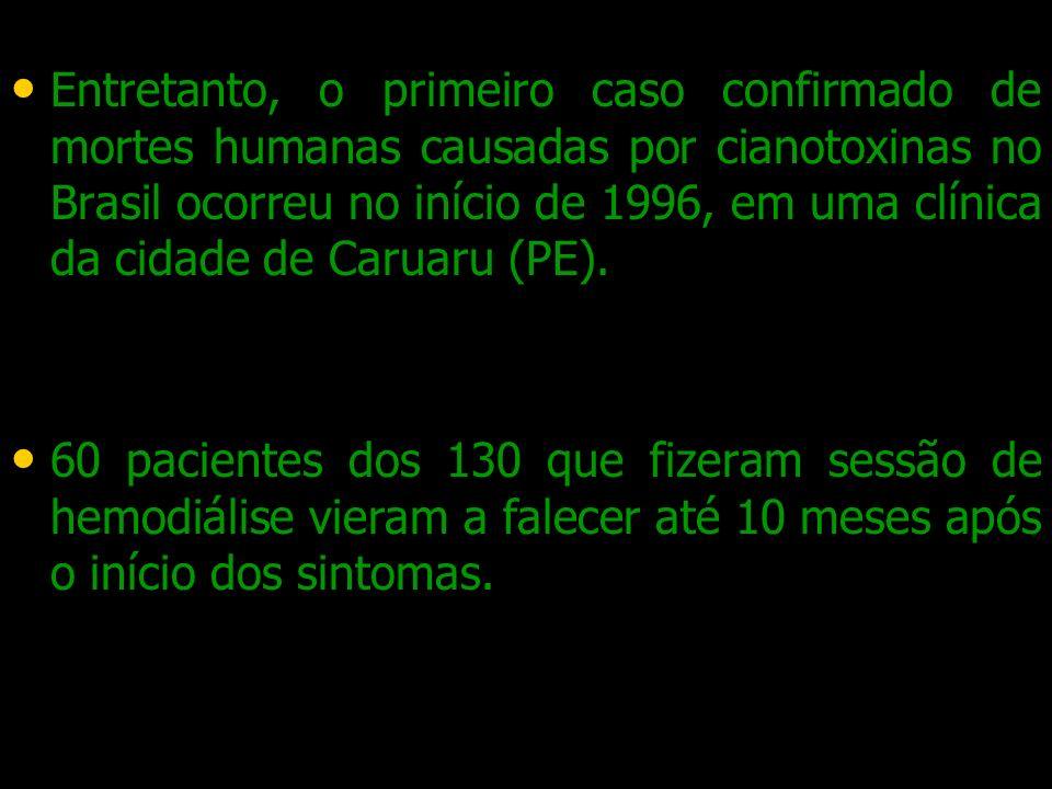Entretanto, o primeiro caso confirmado de mortes humanas causadas por cianotoxinas no Brasil ocorreu no início de 1996, em uma clínica da cidade de Ca