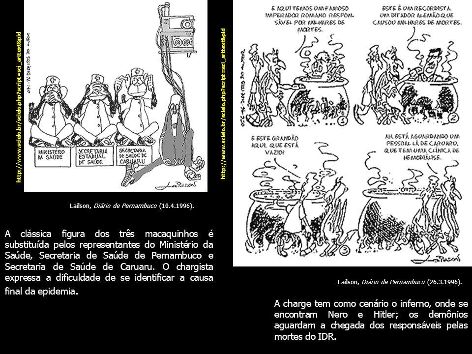 A clássica figura dos três macaquinhos é substituída pelos representantes do Ministério da Saúde, Secretaria de Saúde de Pernambuco e Secretaria de Sa