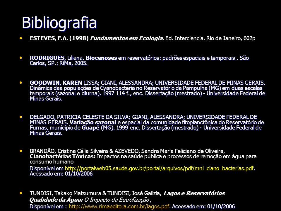Bibliografia ESTEVES, F.A. (1998) Fundamentos em Ecologia. Ed. Interciencia. Rio de Janeiro, 602p RODRIGUES, Liliana. Biocenoses em reservatórios: pad
