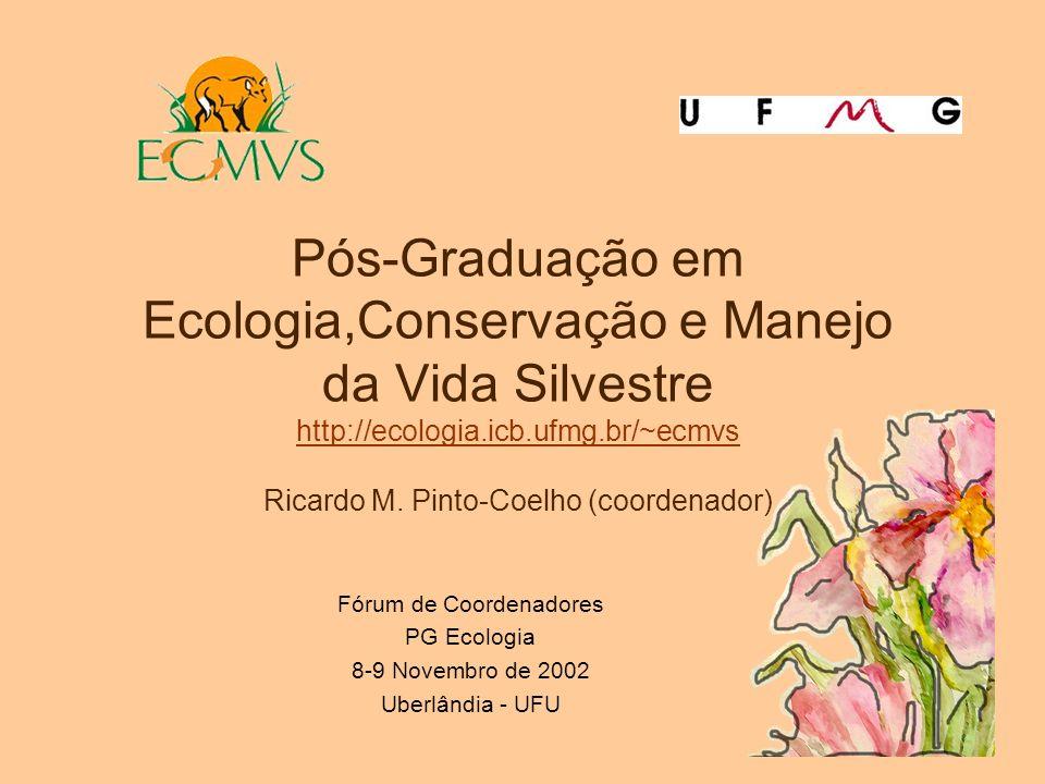 Pós-Graduação em Ecologia,Conservação e Manejo da Vida Silvestre http://ecologia.icb.ufmg.br/~ecmvs Ricardo M. Pinto-Coelho (coordenador) http://ecolo