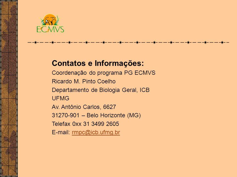 Contatos e Informações: Coordenação do programa PG ECMVS Ricardo M. Pinto Coelho Departamento de Biologia Geral, ICB UFMG Av. Antônio Carlos, 6627 312
