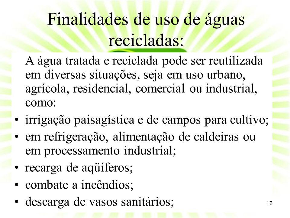 Finalidades de uso de águas recicladas: A água tratada e reciclada pode ser reutilizada em diversas situações, seja em uso urbano, agrícola, residenci
