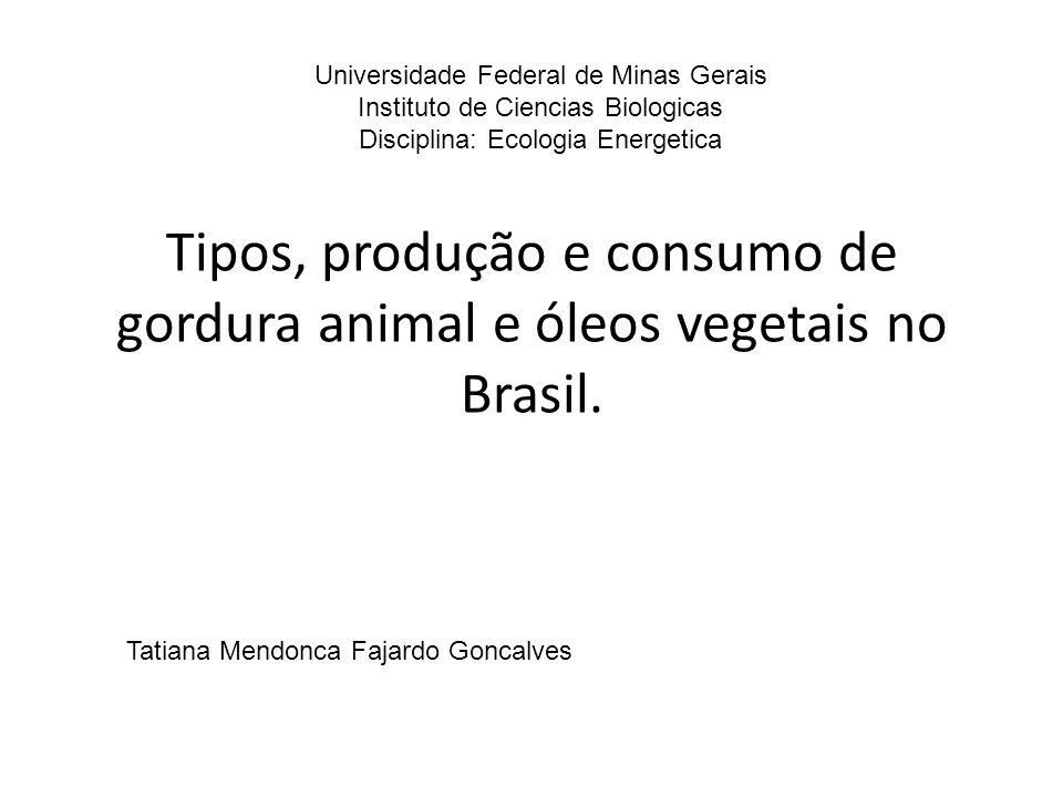 Tipos, produção e consumo de gordura animal e óleos vegetais no Brasil. Universidade Federal de Minas Gerais Instituto de Ciencias Biologicas Discipli