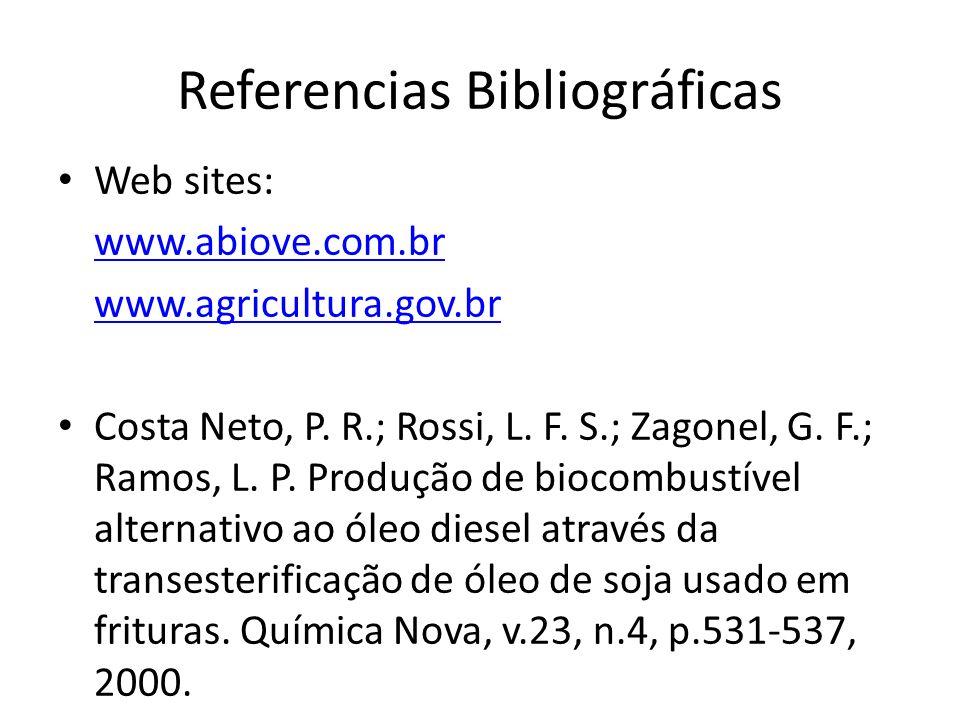 Referencias Bibliográficas Web sites: www.abiove.com.br www.agricultura.gov.br Costa Neto, P. R.; Rossi, L. F. S.; Zagonel, G. F.; Ramos, L. P. Produç