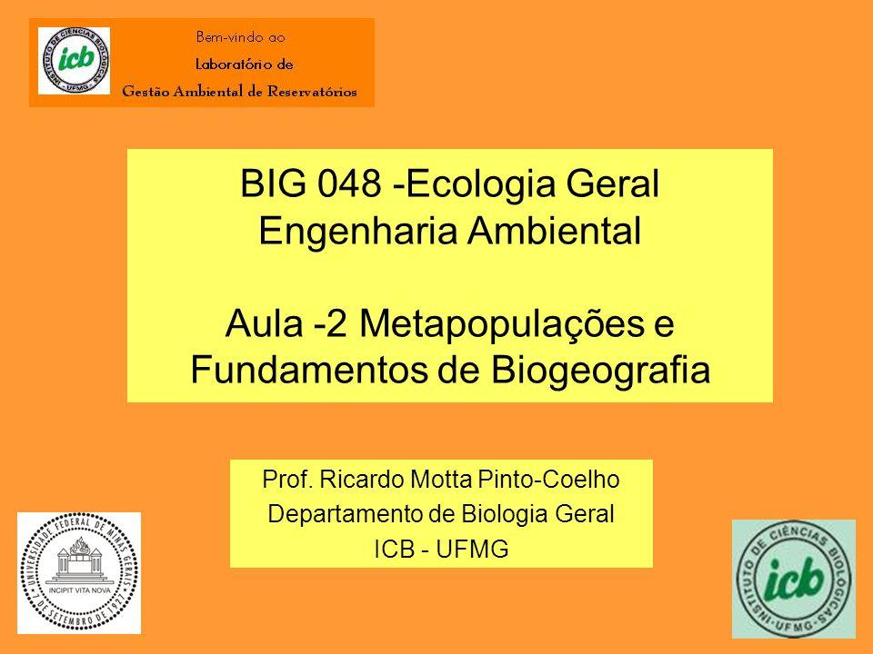 BIG 048 -Ecologia Geral Engenharia Ambiental Aula -2 Metapopulações e Fundamentos de Biogeografia Prof. Ricardo Motta Pinto-Coelho Departamento de Bio