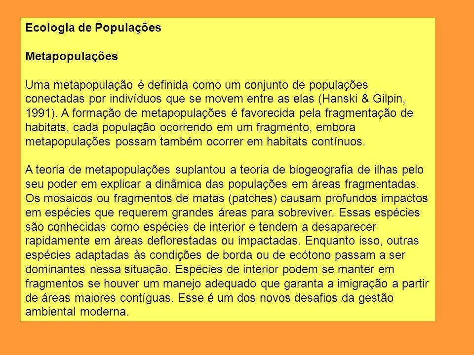 Ecologia de Populações Metapopulações Uma metapopulação é definida como um conjunto de populações conectadas por indivíduos que se movem entre as elas