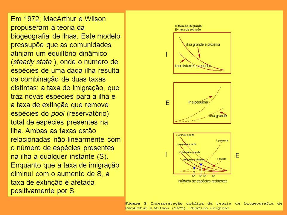 Em 1972, MacArthur e Wilson propuseram a teoria da biogeografia de ilhas. Este modelo pressupõe que as comunidades atinjam um equilíbrio dinâmico (ste