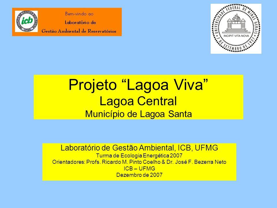Estudos Realizados Uma coleta para estudos limnológicos e batimétricos em 25/10/2007 Coleta de coordenadas de pontos controle na orla da lagoa em 26/10/2007 Coleta de amostras para estudos de plâncton em 09/11/2007
