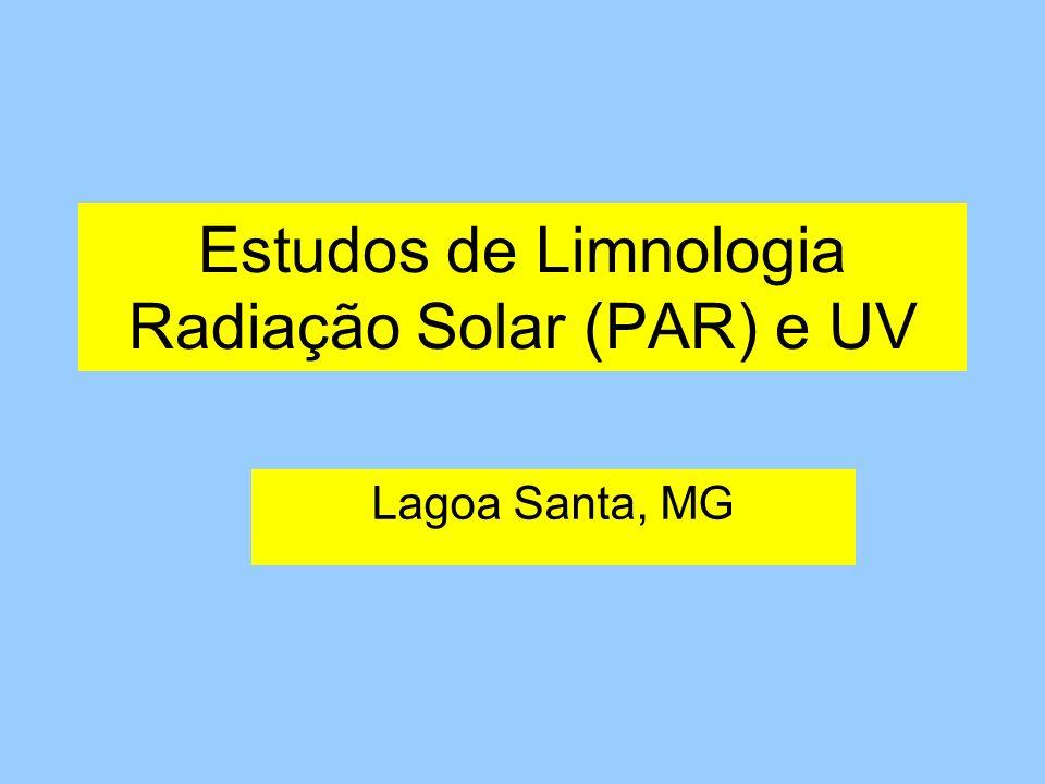 Estudos de Limnologia Radiação Solar (PAR) e UV Lagoa Santa, MG