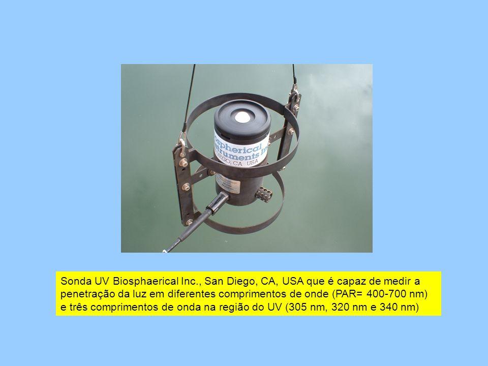 Sonda UV Biosphaerical Inc., San Diego, CA, USA que é capaz de medir a penetração da luz em diferentes comprimentos de onde (PAR= 400-700 nm) e três c