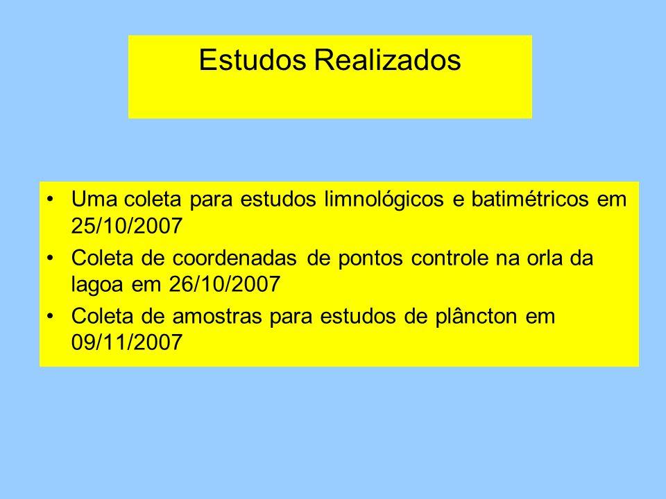 Estudos Realizados Uma coleta para estudos limnológicos e batimétricos em 25/10/2007 Coleta de coordenadas de pontos controle na orla da lagoa em 26/1