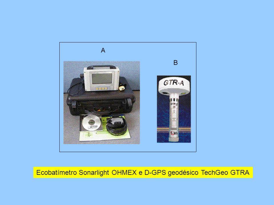 Ecobatímetro Sonarlight OHMEX e D-GPS geodésico TechGeo GTRA