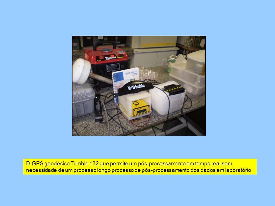 D-GPS geodésico Trimble 132 que permite um pós-processamento em tempo real sem necessidade de um processo longo processo de pós-processamento dos dado