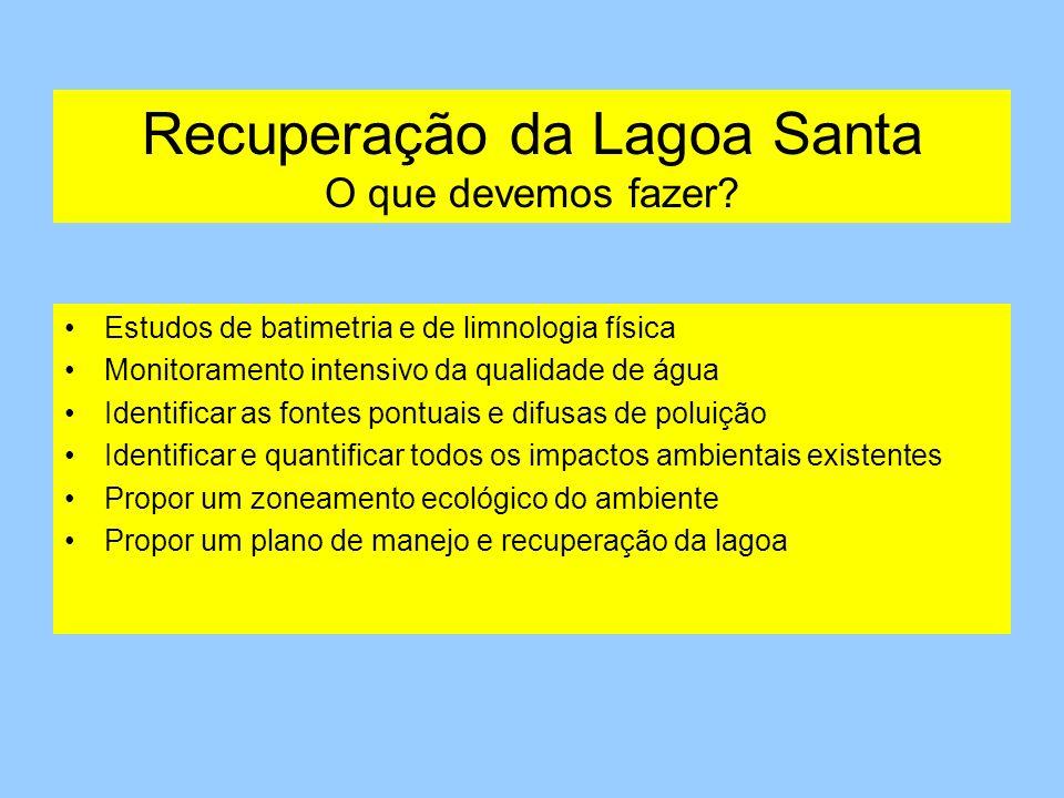 Recuperação da Lagoa Santa O que devemos fazer? Estudos de batimetria e de limnologia física Monitoramento intensivo da qualidade de água Identificar