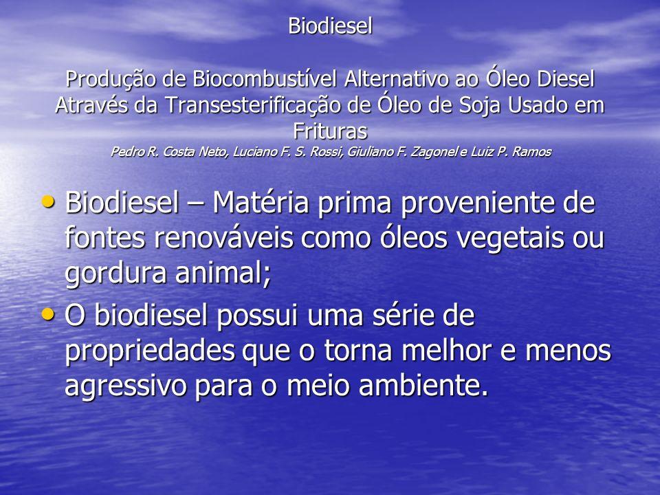 Biodiesel Produção de Biocombustível Alternativo ao Óleo Diesel Através da Transesterificação de Óleo de Soja Usado em Frituras Pedro R. Costa Neto, L
