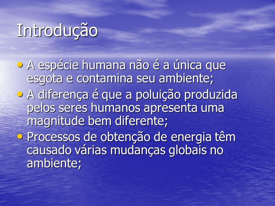 Introdução A espécie humana não é a única que esgota e contamina seu ambiente; A espécie humana não é a única que esgota e contamina seu ambiente; A d