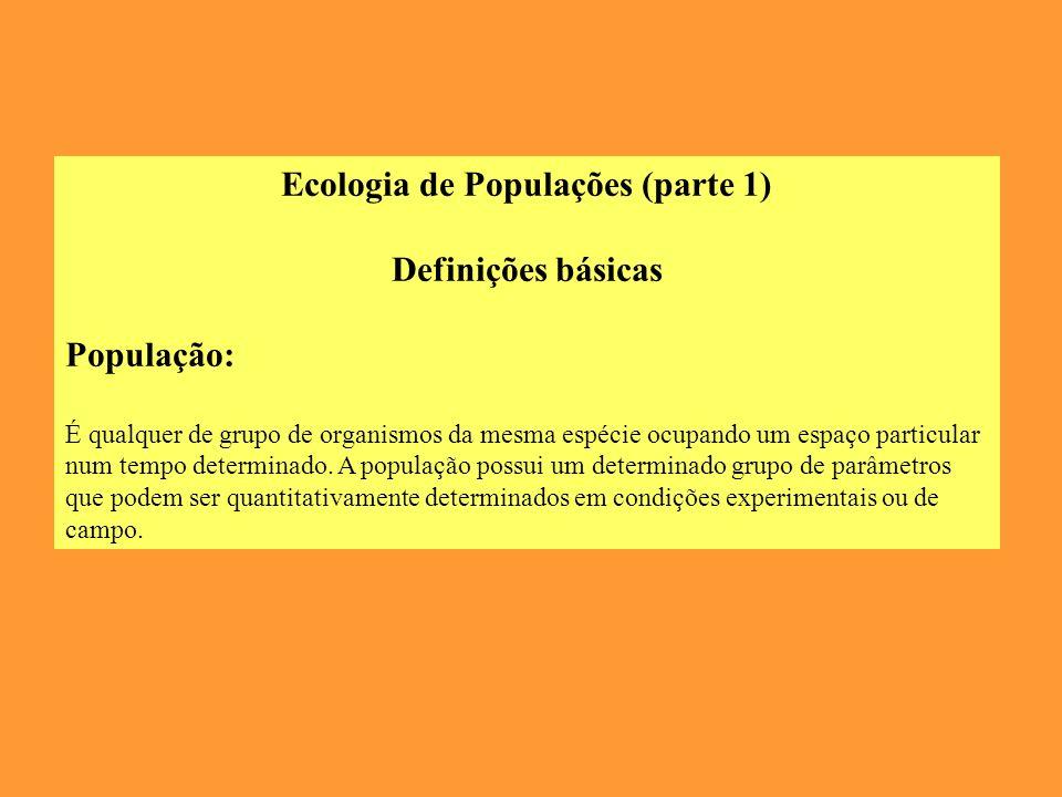 Ecologia de Populações (parte 1) Definições básicas População: É qualquer de grupo de organismos da mesma espécie ocupando um espaço particular num tempo determinado.