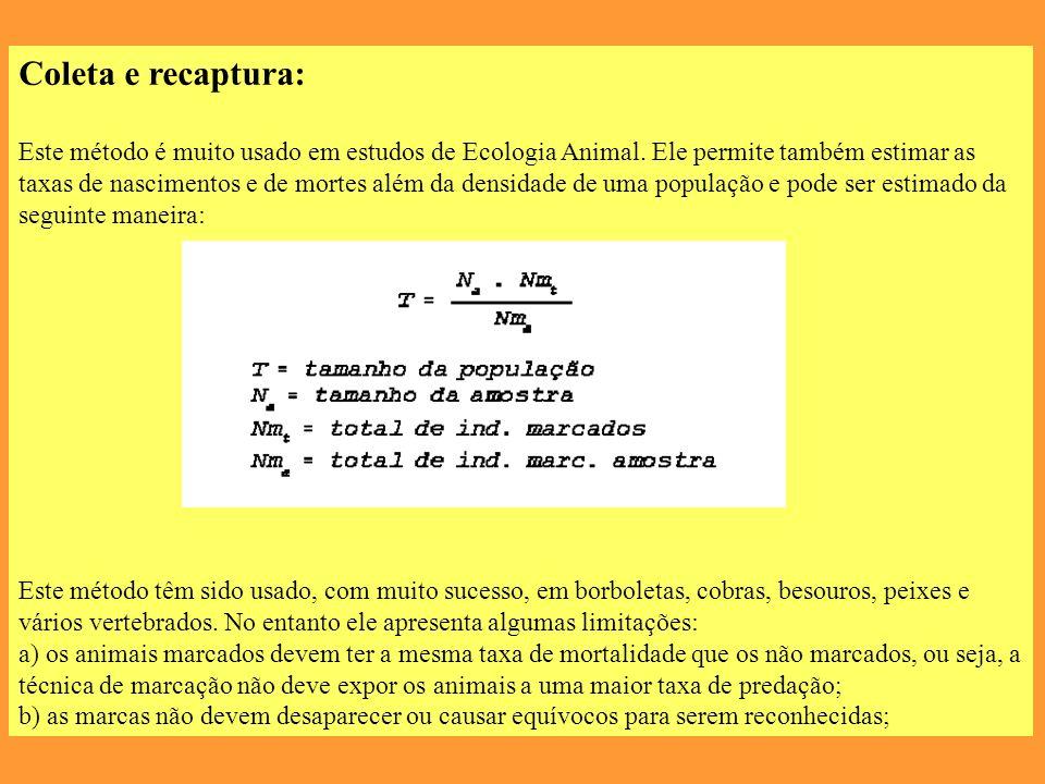 Coleta e recaptura: Este método é muito usado em estudos de Ecologia Animal.
