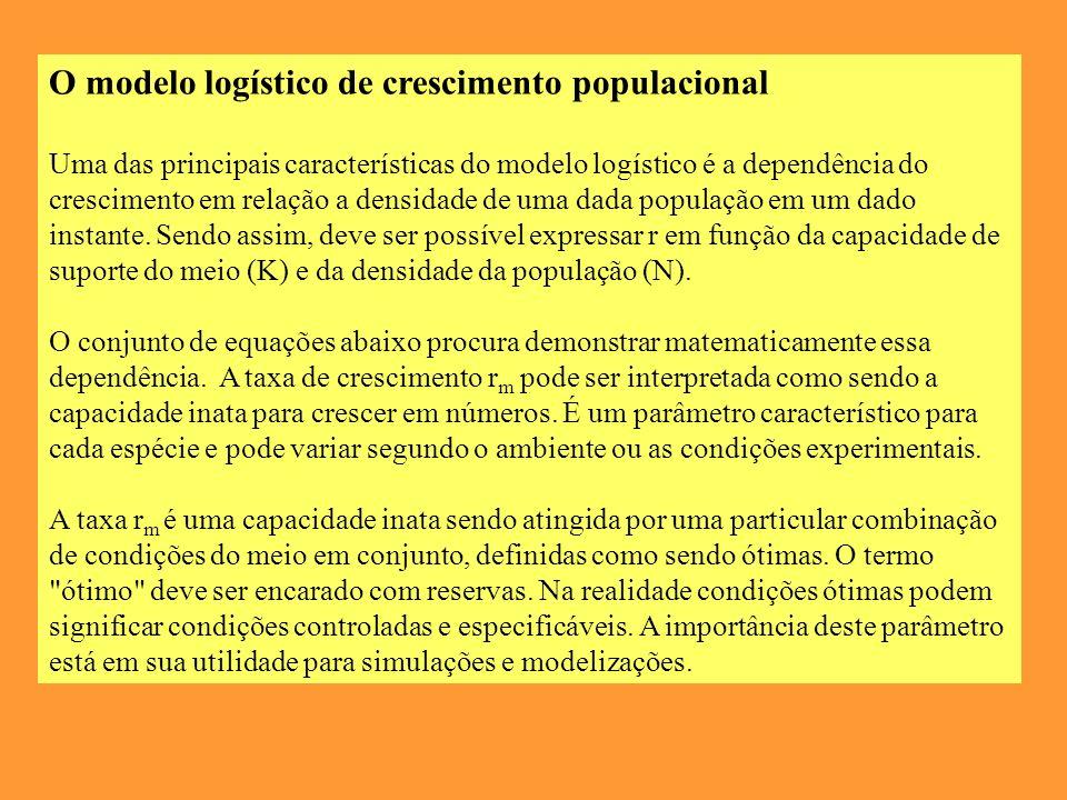 O modelo logístico de crescimento populacional Uma das principais características do modelo logístico é a dependência do crescimento em relação a densidade de uma dada população em um dado instante.