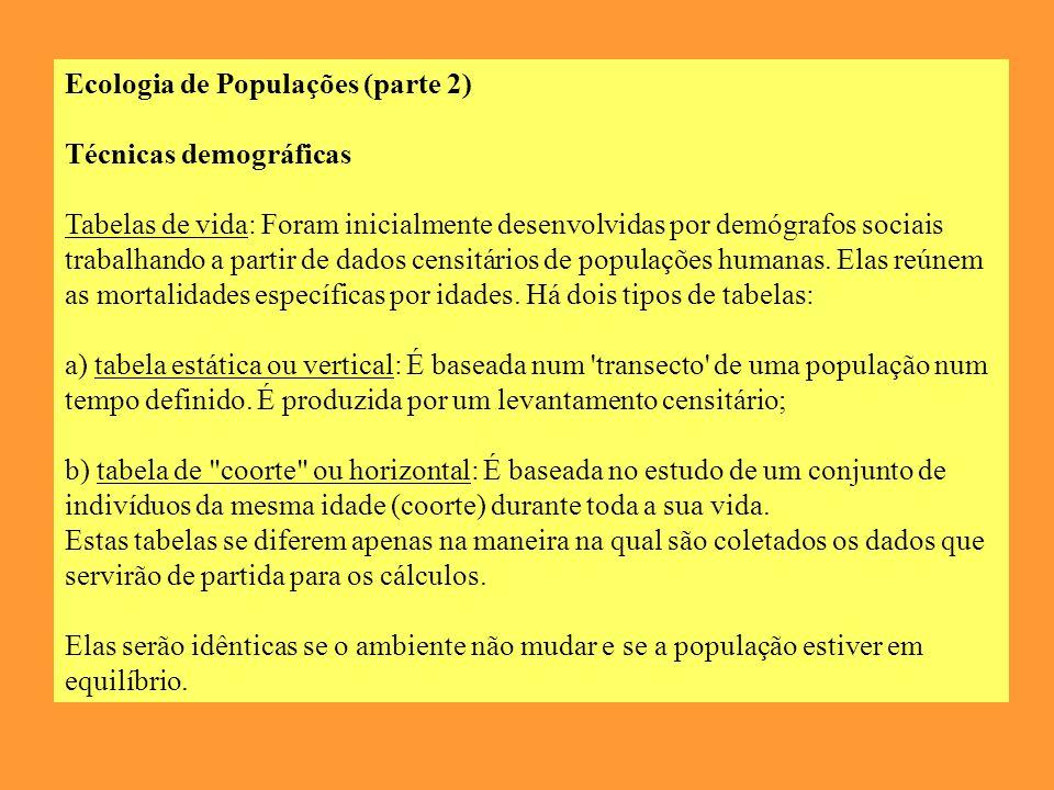 Ecologia de Populações (parte 2) Técnicas demográficas Tabelas de vida: Foram inicialmente desenvolvidas por demógrafos sociais trabalhando a partir de dados censitários de populações humanas.