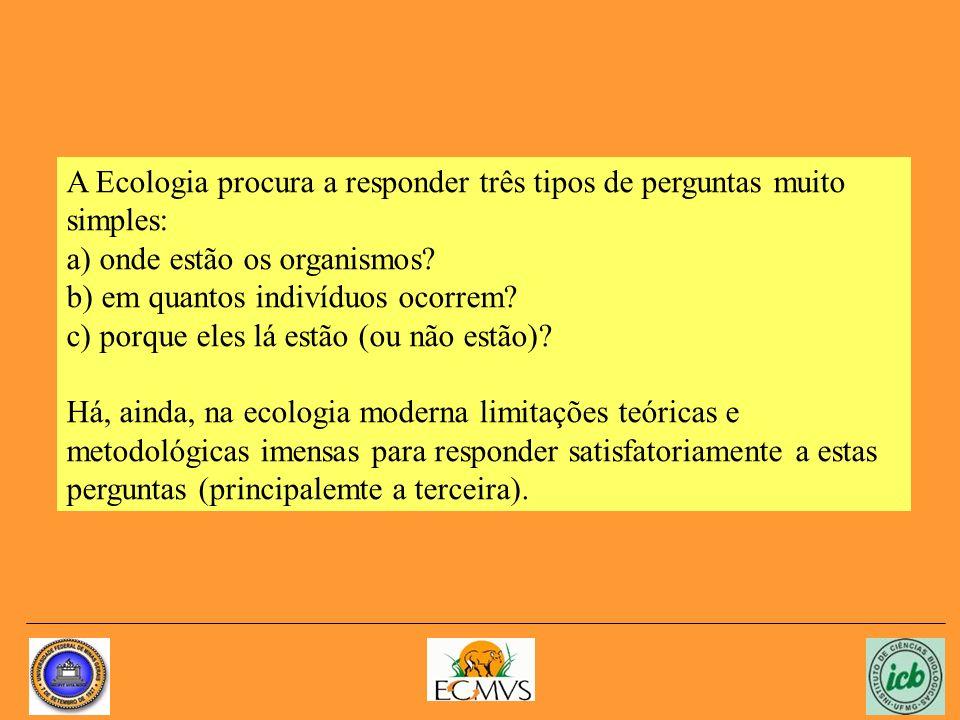 A Ecologia procura a responder três tipos de perguntas muito simples: a) onde estão os organismos.