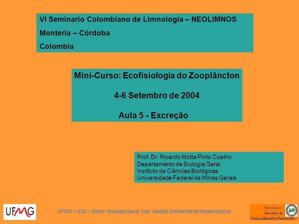 Mini-Curso: Ecofisiologia do Zooplâncton 4-6 Setembro de 2004 Aula 5 - Excreção VI Seminario Colombiano de Limnologia – NEOLIMNOS Monteria – Córdoba Colombia UFMG – ICB – Depto.