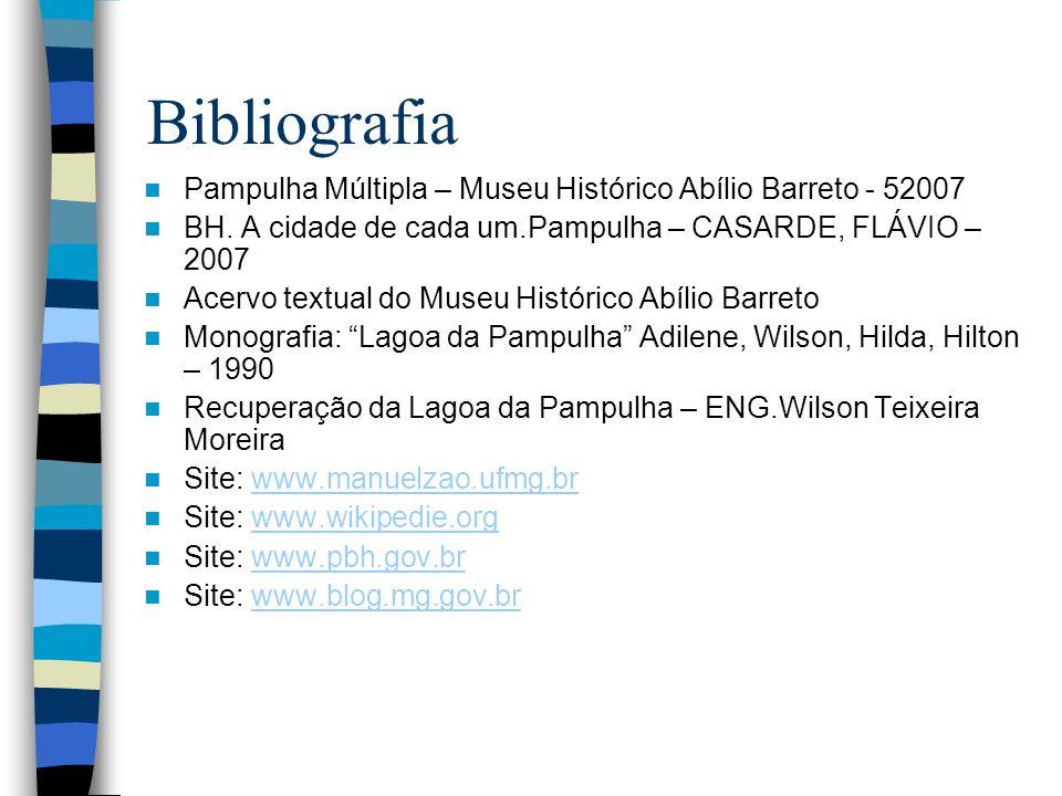Bibliografia Pampulha Múltipla – Museu Histórico Abílio Barreto - 52007 BH. A cidade de cada um.Pampulha – CASARDE, FLÁVIO – 2007 Acervo textual do Mu