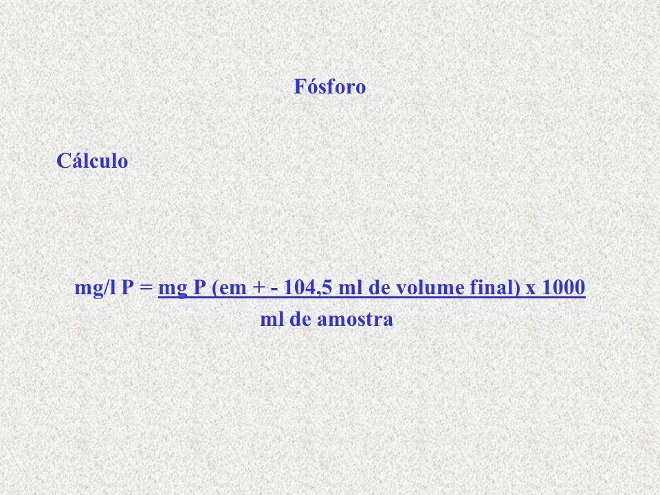 Fósforo Cálculo mg/l P = mg P (em + - 104,5 ml de volume final) x 1000 ml de amostra
