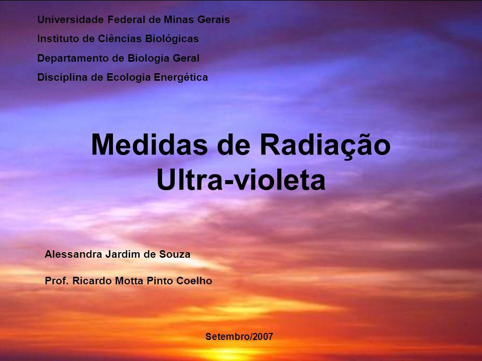Medidas de Radiação Ultra-violeta Alessandra Jardim de Souza Prof. Ricardo Motta Pinto Coelho Universidade Federal de Minas Gerais Instituto de Ciênci