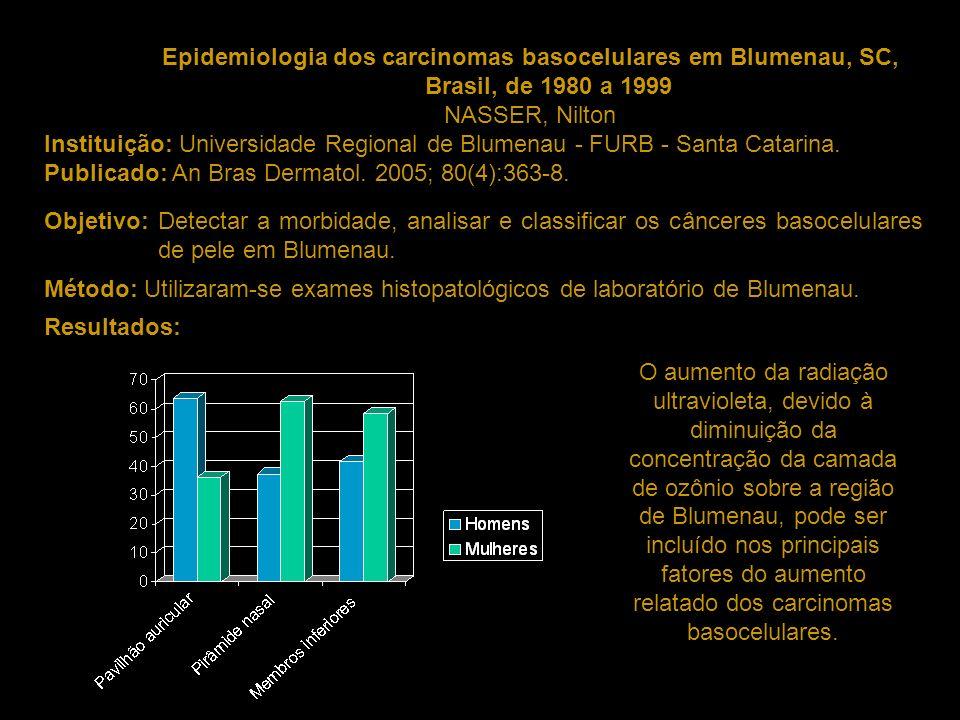 Epidemiologia dos carcinomas basocelulares em Blumenau, SC, Brasil, de 1980 a 1999 NASSER, Nilton Instituição: Universidade Regional de Blumenau - FUR