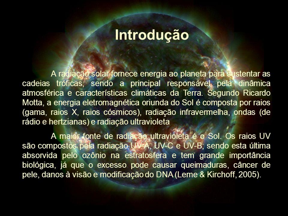 Introdução A radiação solar fornece energia ao planeta para sustentar as cadeias tróficas, sendo a principal responsável pela dinâmica atmosférica e c