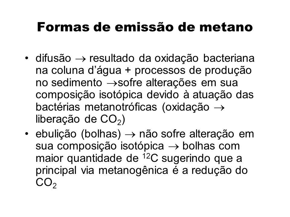 Formas de emissão de metano difusão resultado da oxidação bacteriana na coluna dágua + processos de produção no sedimento sofre alterações em sua comp