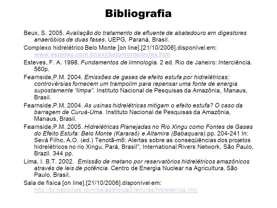 Bibliografia Beux, S. 2005. Avaliação do tratamento de efluente de abatedouro em digestores anaeróbios de duas fases. UEPG, Paraná, Brasil. Complexo h