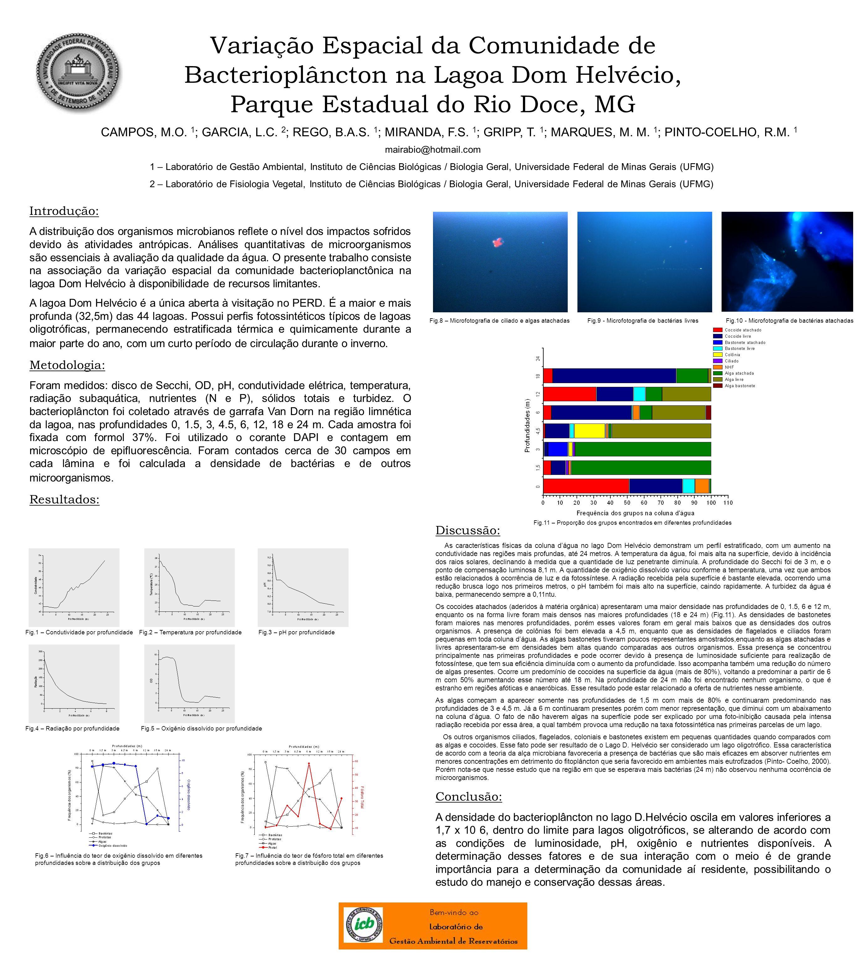 Variação Espacial da Comunidade de Bacterioplâncton na Lagoa Dom Helvécio, Parque Estadual do Rio Doce, MG CAMPOS, M.O. 1 ; GARCIA, L.C. 2 ; REGO, B.A