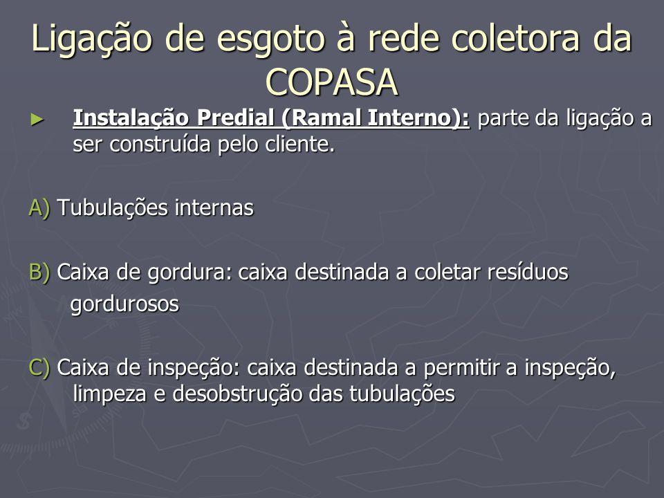 Ligação de esgoto à rede coletora da COPASA Instalação Predial (Ramal Interno): parte da ligação a ser construída pelo cliente. Instalação Predial (Ra