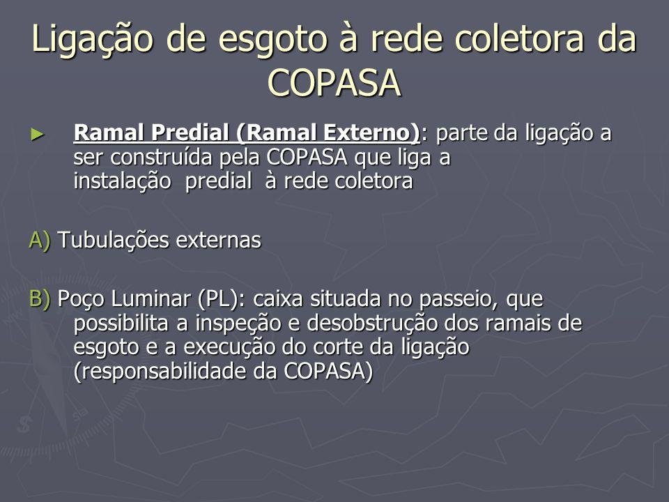 Ligação de esgoto à rede coletora da COPASA Ramal Predial (Ramal Externo): parte da ligação a ser construída pela COPASA que liga a instalação predial