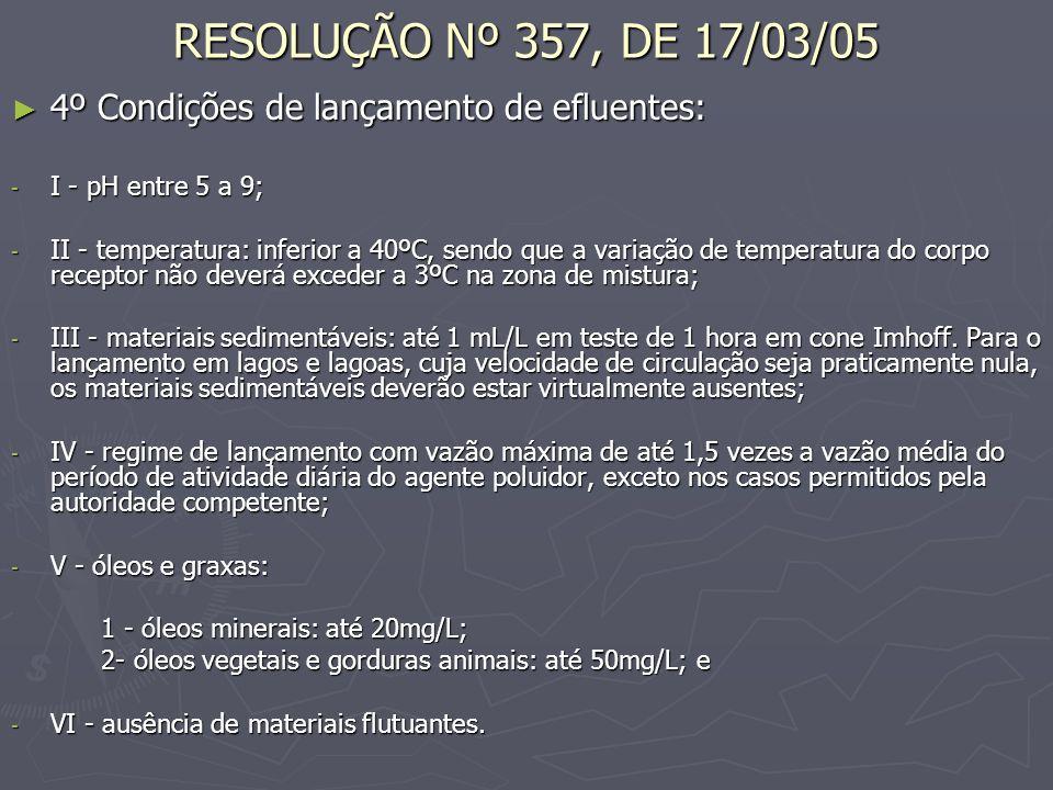 RESOLUÇÃO Nº 357, DE 17/03/05 4º Condições de lançamento de efluentes: 4º Condições de lançamento de efluentes: - I - pH entre 5 a 9; - II - temperatu