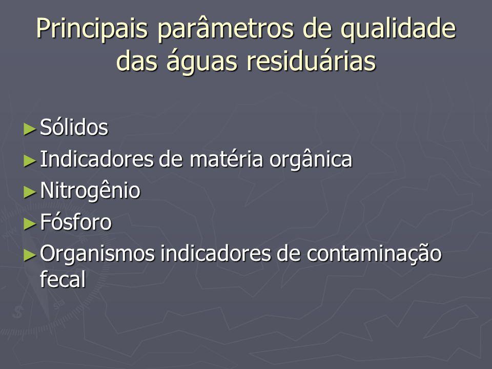 Principais parâmetros de qualidade das águas residuárias Sólidos Sólidos Indicadores de matéria orgânica Indicadores de matéria orgânica Nitrogênio Ni