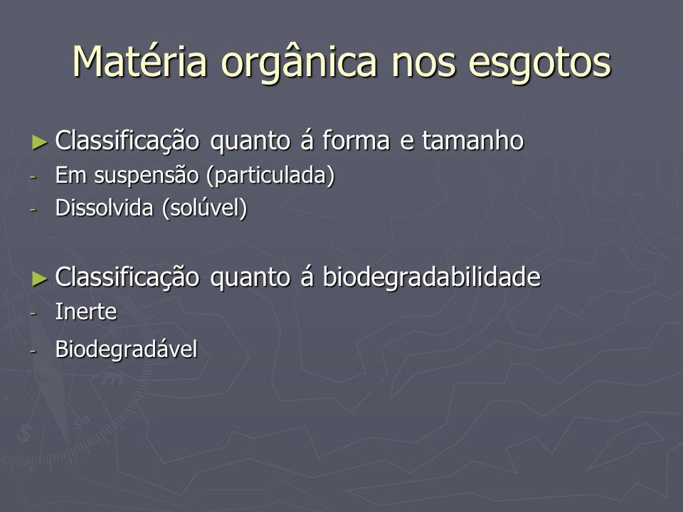 Matéria orgânica nos esgotos Classificação quanto á forma e tamanho Classificação quanto á forma e tamanho - Em suspensão (particulada) - Dissolvida (